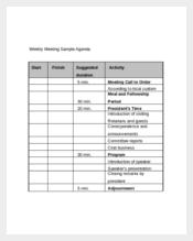 Weekly Meeting Sample Agenda