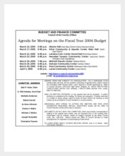 Budget and Finance Committee Meeting Agenda Template