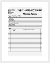 Blank Meeting Agenda Template for Business