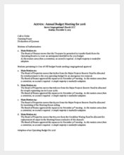 Annual Budget Meeting Agenda