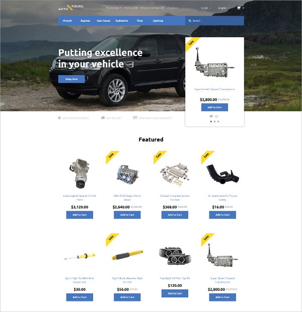Excellent Car Repair OpenCart Template $89