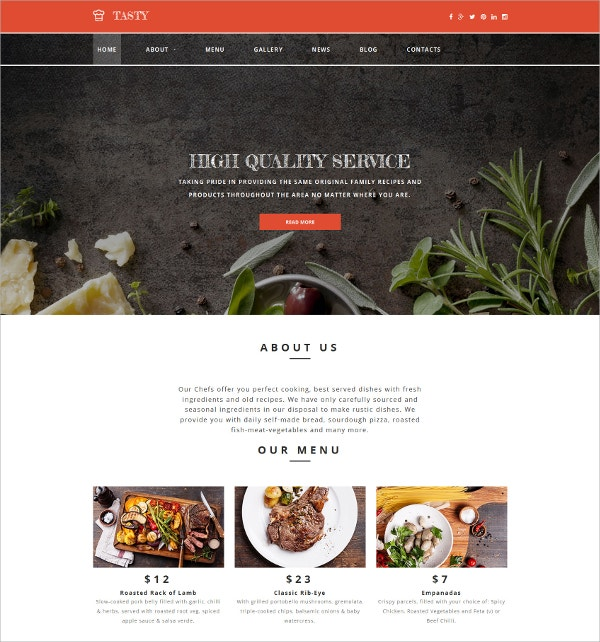 Cafe And Restaurant Responsive Blog Template $199