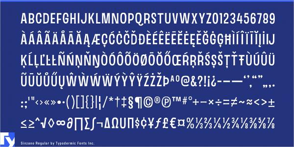 sinzano retro font