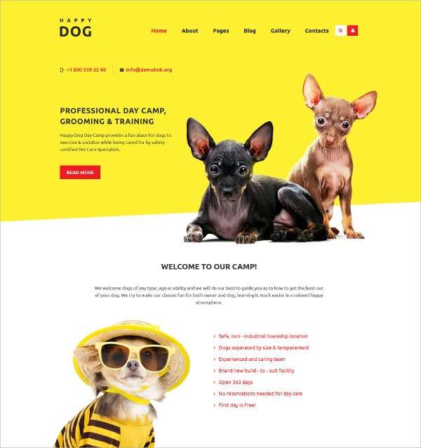 Professional Dog Day Camp Joomla Template $75
