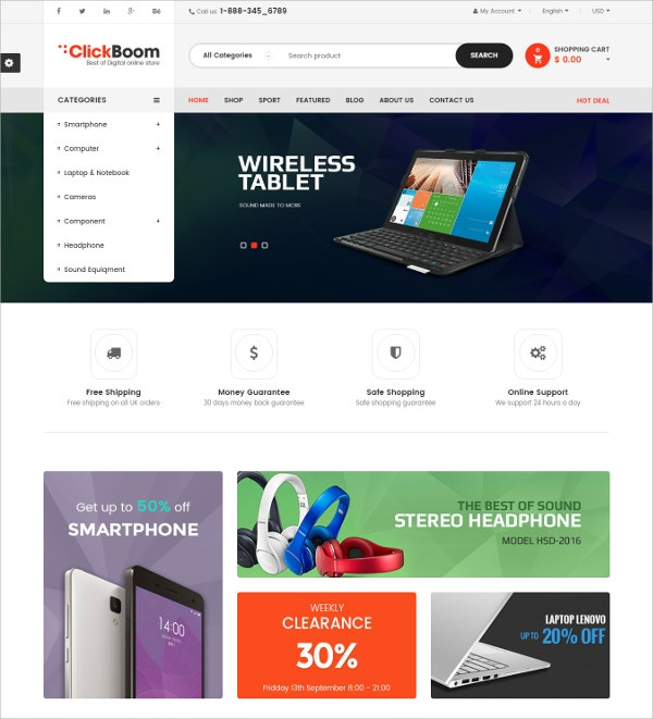 eCommerce Prestashop Multipurpose HTML5 Theme $70