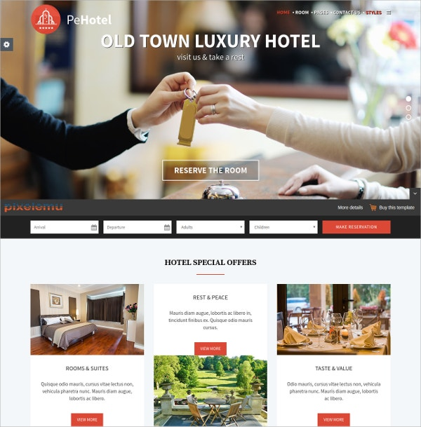 Hotel & Resort WordPress HTML5 Theme $39