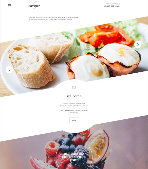 Cafe & Restaurant Website HTML5 Template $69