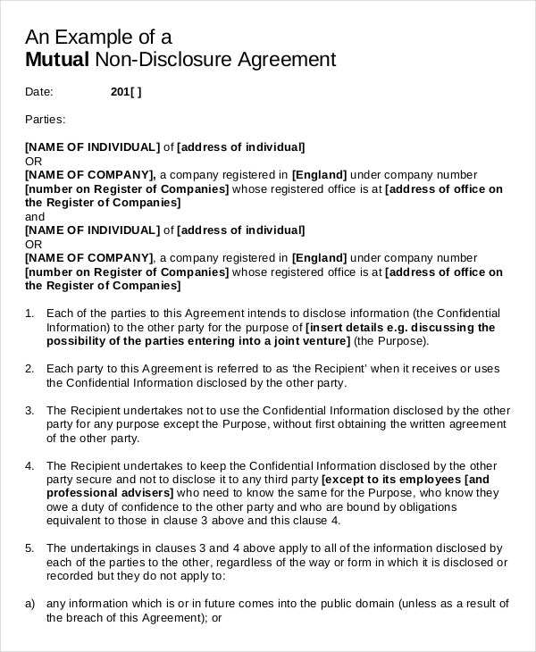 Non disclosure agreement uk template free 28 images for Free nda template