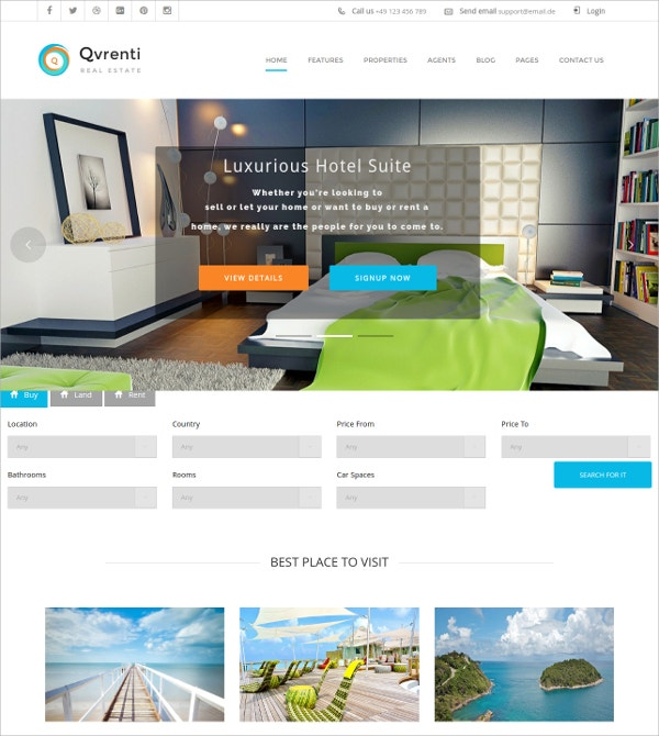 Real Estate & Rental HTML5 WordPress Theme $49