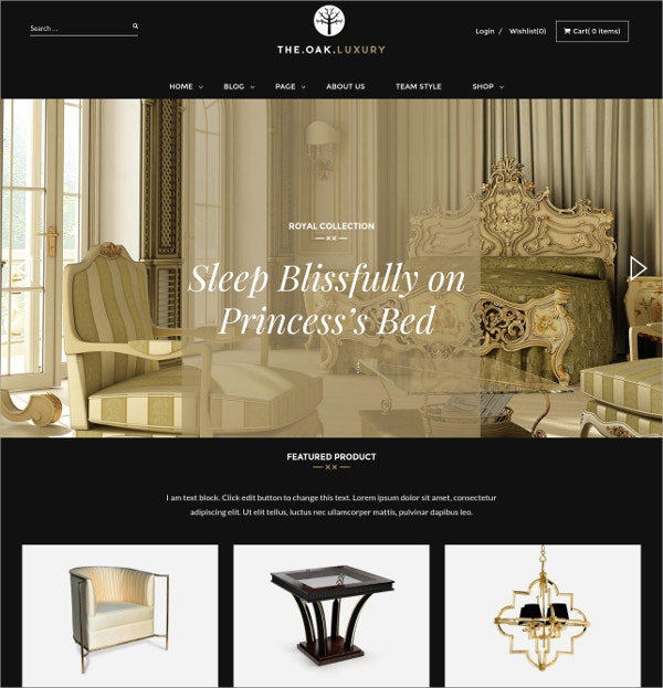 Modern Furniture WordPress HTML5 Theme $59