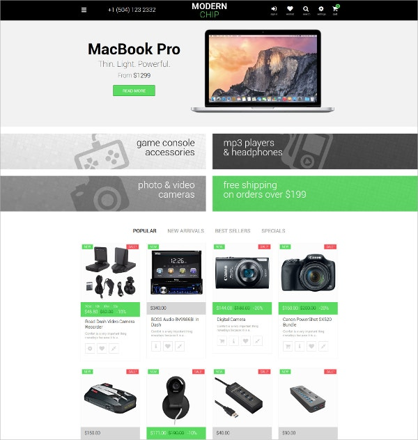 Electronics PrestaShop HTML5 Theme $139