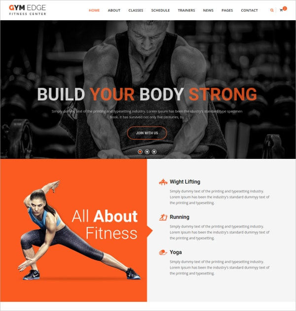 Gym & Fitness HTML5 Responsive Template $17