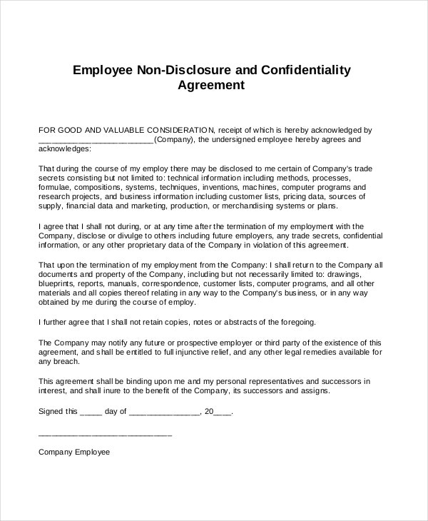 Free Non Disclosure Agreement Form   Free Word  Documents
