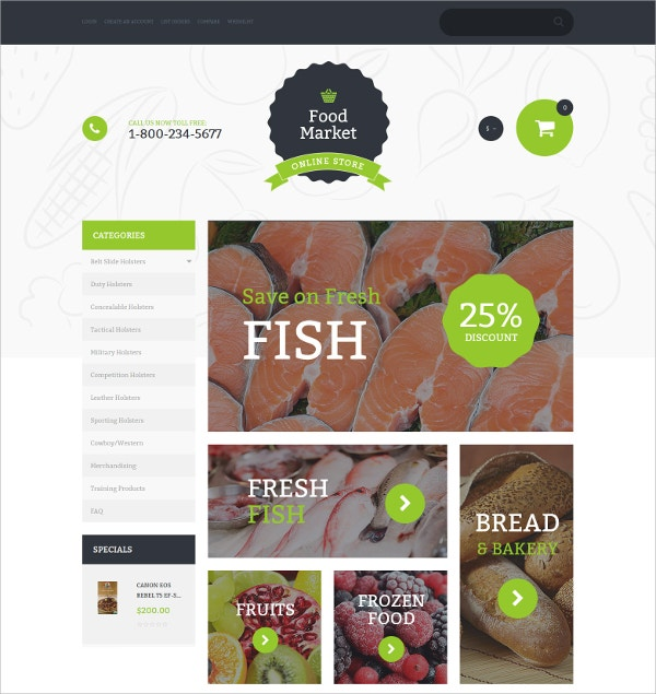 Food Store Responsive eCommerce Template $139