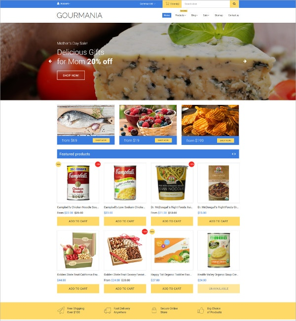 Delicious Food eCommerce Theme $139