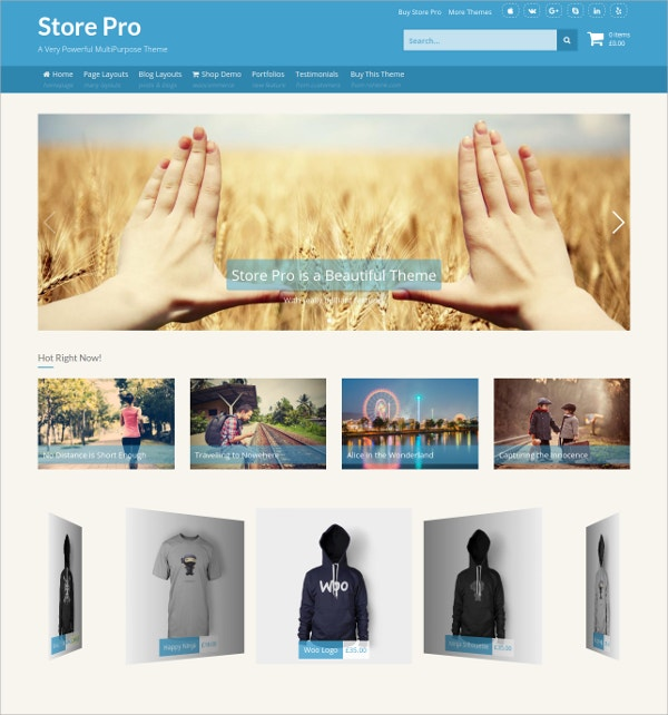 MultiPurpose eCommerce WordPress Theme $45