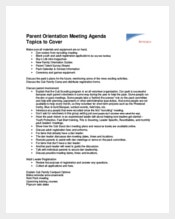 Discussion Oriented Meeting Agenda Example