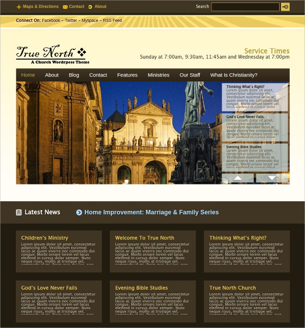 Premium Church WordPress Website Theme $35
