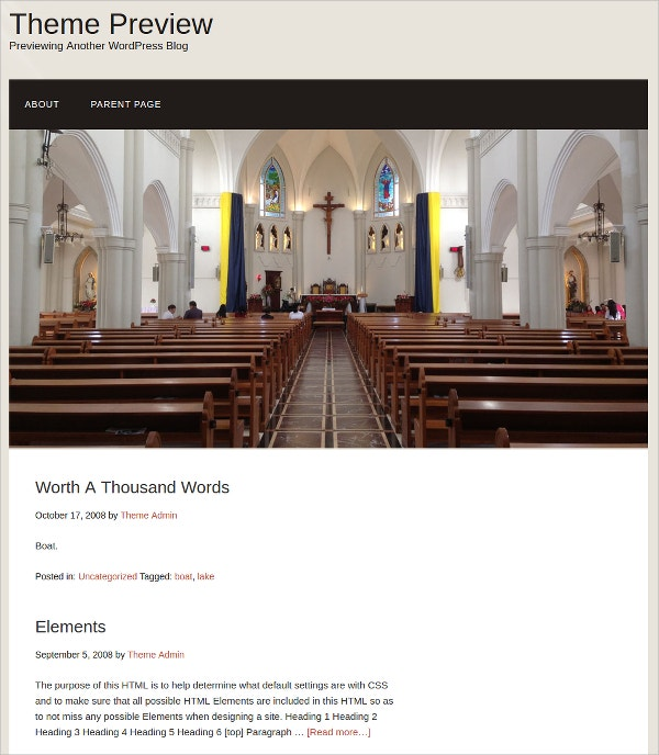 free church wordpress website template