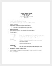 Business Financers Meeting Agenda Example