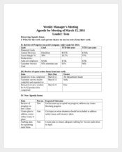 Weekly Employee Meeting Agenda Sample Template