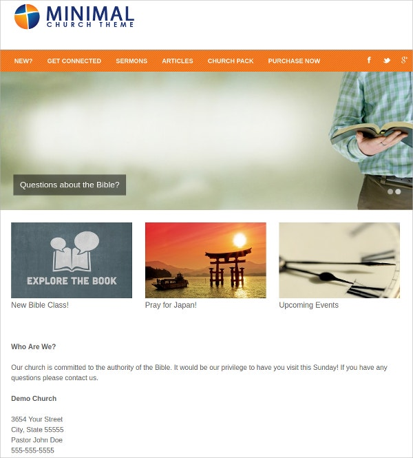 Premium Church WordPress Website Theme $29