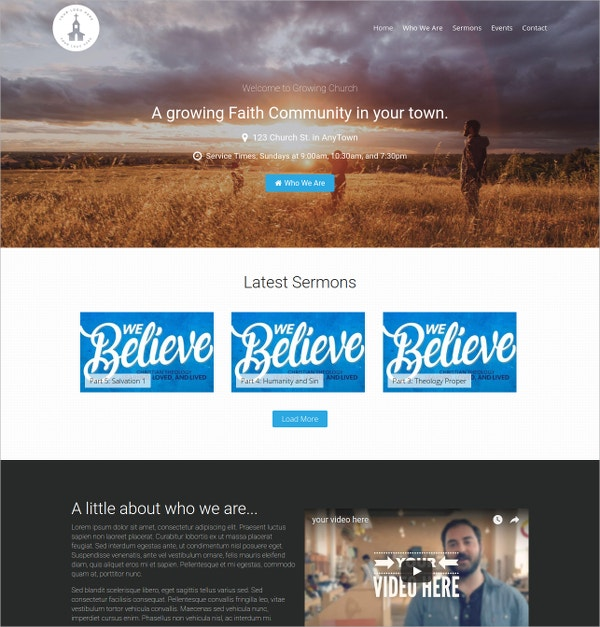 Church Parallax Website Theme $79