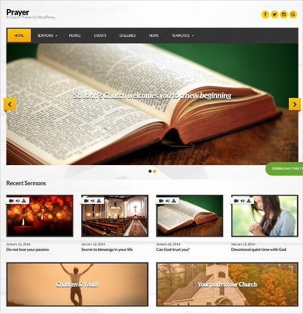 perfect church wordpress website theme