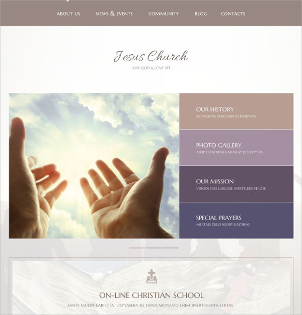 Jesus Church WordPress Website Theme $75