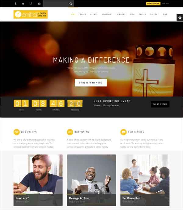 Church Responsive WordPress Website Theme $59