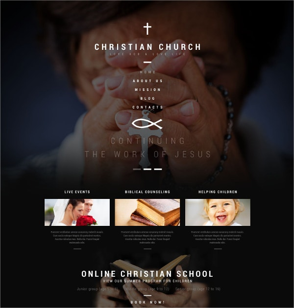 Christian Church WordPress Website Theme $75