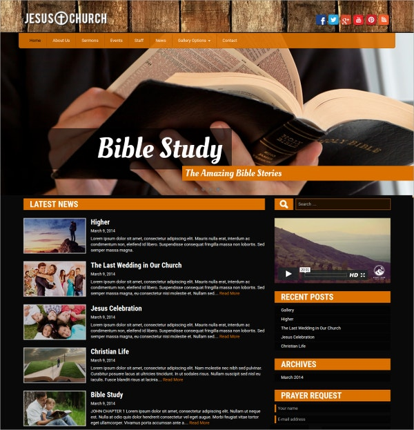 Jesus Church & Charity WordPress Website Theme $49