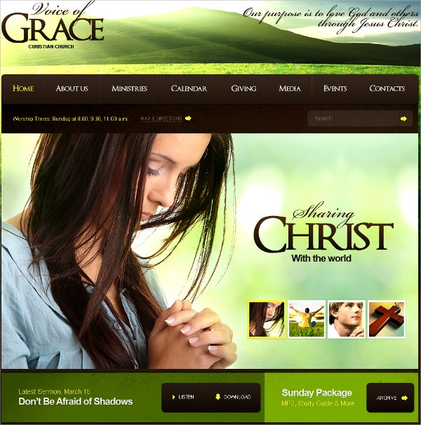 Christian Church Flash CMS Website Template $99