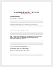 Appointment Meeting Agenda Checklist for Prospective Client Sample