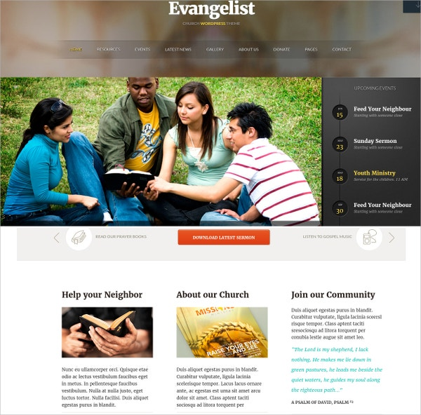 Creative Church WordPress Website Theme $55