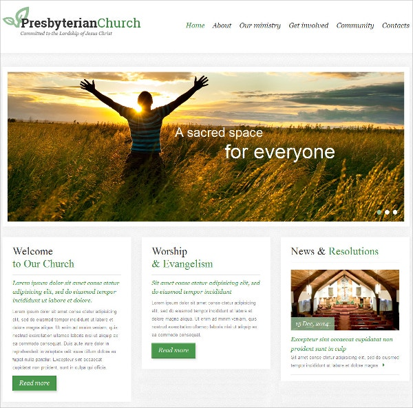 Responsive Church Website Template $69