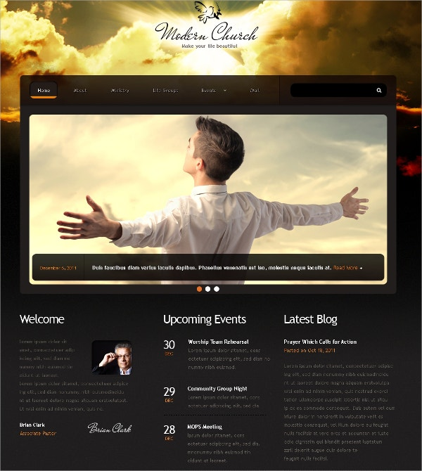 Modern Church Responsive Website Template $69