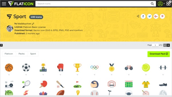 flaticon Sport 100 icons
