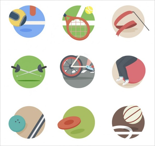 Sport elements icons Free Vector