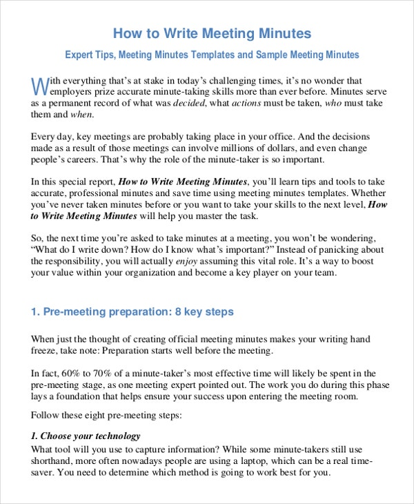 how to take meeting minutes template - minutes writing template 10 free word pdf documents