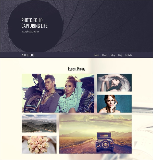 free responsive html5 website theme for photography