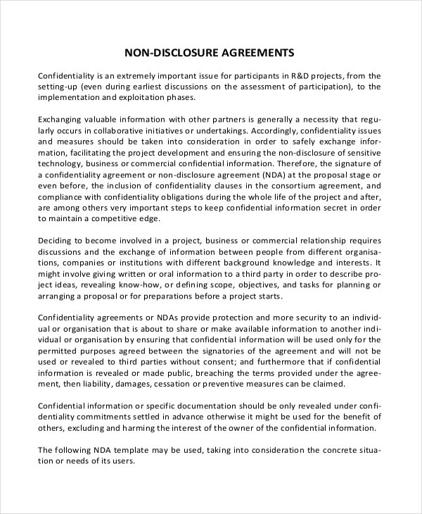 Simple Non Disclosure Agreement Form 12 Free Word PDF – Non Disclosure Agreement Word Document
