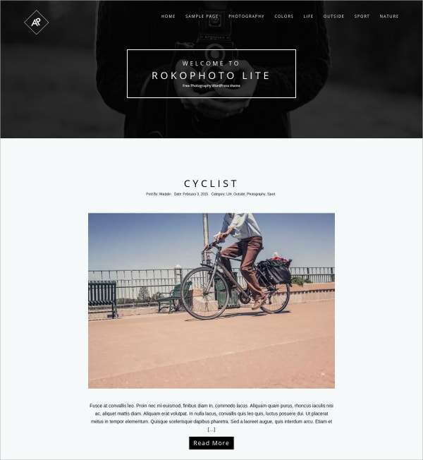 free clean design photography wordpress theme
