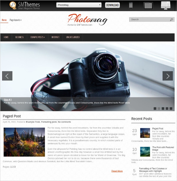 free excellent photography website theme