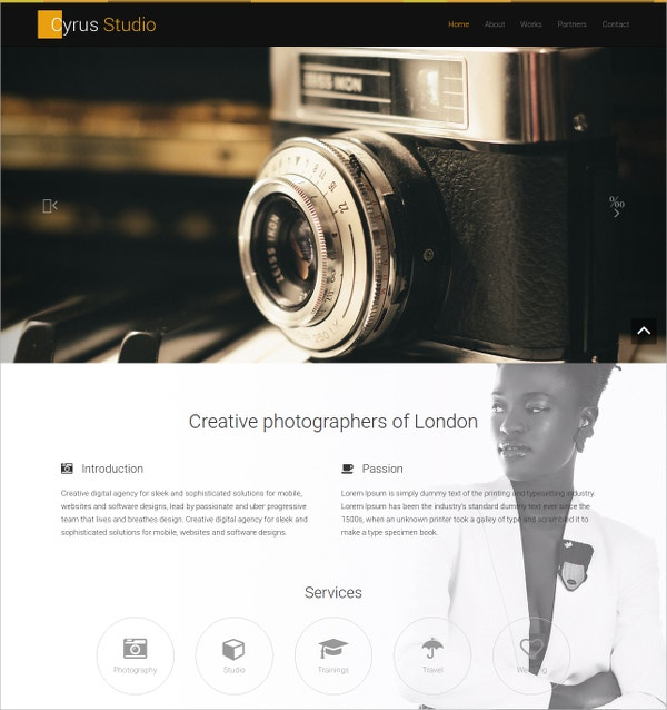 photography studio free website theme