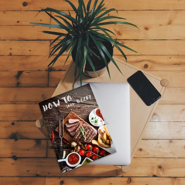 Magazine on Table Mockup