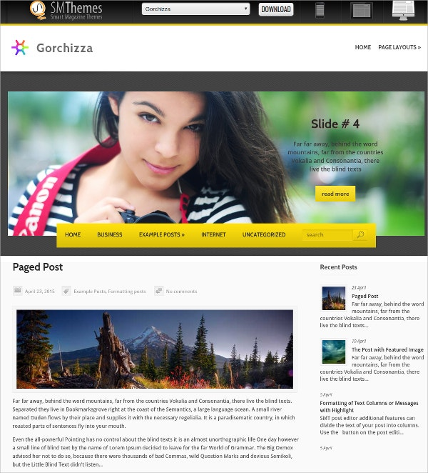 free creative photography website theme
