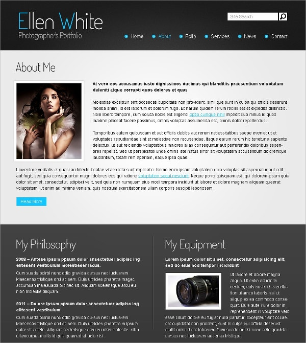 Free Website Template Photographer Portfolio
