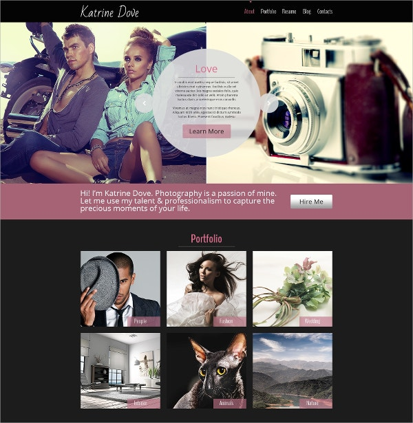 Free HTML5 Website Theme For Photo Site