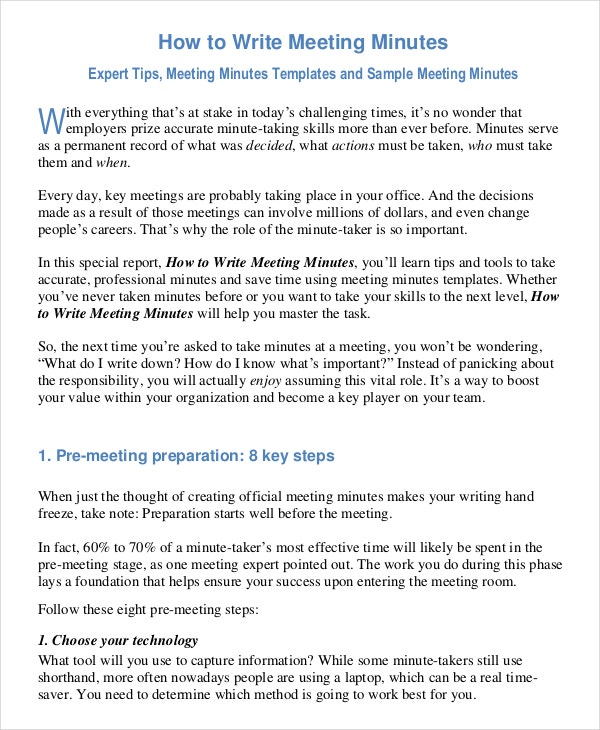 how to write a meeting report sample